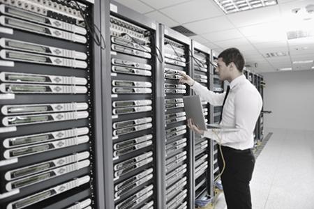 Man and server rack